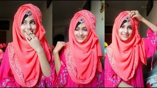 Download Gorgeous hijab style showing the border with full coverage    Noshin Nower Video