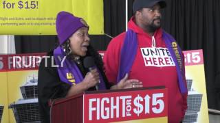 Download USA: Hundreds of airport workers demand $15 minimum wage at rally in DC Video