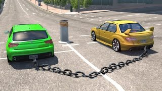 Download BeamNG drive - Chained Cars against Bollard Video