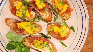 Download How to Make Prosciutto, Brie and Mango Crostini Bites by Ayesha Curry Video