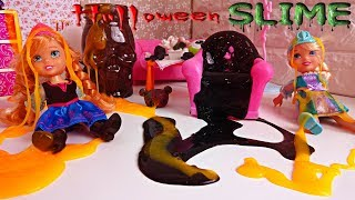 Download Elsa and Anna toddlers play with Halloween slime Video