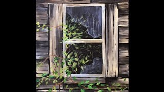 Download Old Shed Window Step by Step Acrylic Painting on Canvas for Beginners Video