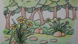 Belajar Gambar Pemandangan Alam Pedesaan Free Download Video Mp4 Menggambar
