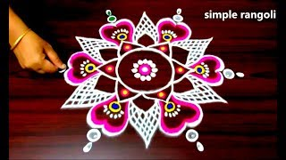 Download latest rangoli designs with colours, kolam designs with 7 to 4 dots, small muggulu designs with dots Video