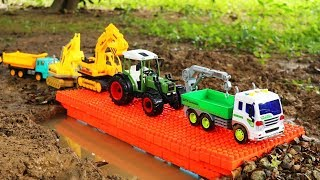 Download Build Bridge For Cars Toys With Dump Truck, Loader, Bulldozer Excavator Video