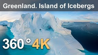 Download 360 video, Greenland. Island of Icebergs. 4K aerial video Video