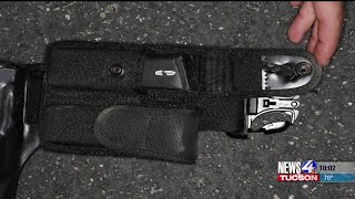 Download Tucson Police officer saved by belt Video