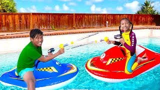 Download Wendy & Michael Playing with Inflatable Boat Swimming Pool Toy for Children Video