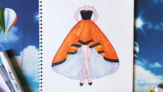 Download How to draw a Dress - Vẽ đầm dạ hội - An Pi TV Coloring Video