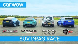 Download Lamborghini Urus v Tesla Model X v Mercedes-AMG G63 v Range Rover Sport SVR - DRAG & ROLLING RACE Video