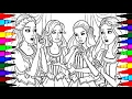 Coloring Pages BARBIE and her Friends Coloring Book Videos For Children Learning Colors