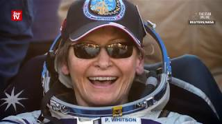 Download Record-breaking US astronaut Peggy Whitson and her crew back on Earth Video