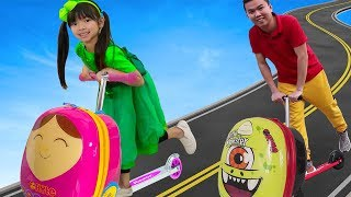 Download Emma Pretend Play w/ Luggage Suitcase Scooter Ride On Toy Video