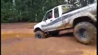 Download Toyota 4X4 Going Through Mud Hole in Two Wheel Drive,Awesome! Video