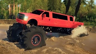 Download FORD F350 LIMO MEGATRUCK! 4x4 Mudding, Hill Climbing, & Off-Roading! (SpinTires) Video