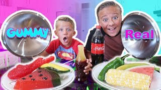 Download GUMMY FOOD vs REAL FOOD Switch Up Challenge! Kids react to trying gummi candy and real food Video