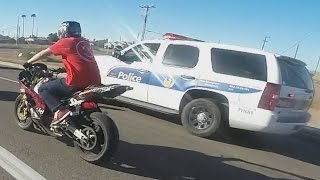 Download STREET BIKE VS POLICE Chase Motorcycle Stunts Riding Wheelies While Chased By Cops 2016 Video