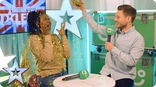 Download Sarah Ikumu, Jess Robinson & PC Dan chat exclusively in BGT's AO Green Room Video