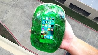 Download Can Flubber Protect an iPhone SE from 100 FT Drop Test?! Video