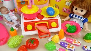 Download Baby doll Kitchen toys and cooking food toys baby Doli play Video