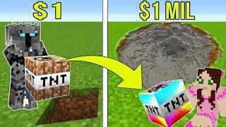 Download Minecraft: 1 DOLLAR TNT VS 1,000,000 DOLLAR RAINBOW TNT!!! Crafting Mini-Game Video