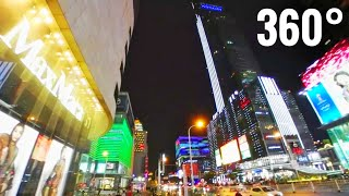 Download 360 VR video Chinese City Shopping Center street skyscrapers Wuxi China by Night Video