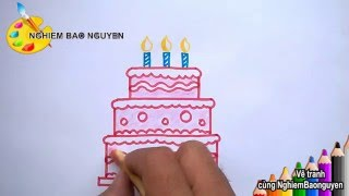 Download Vẽ Bánh sinh nhật/How to Draw Birthday cake Video