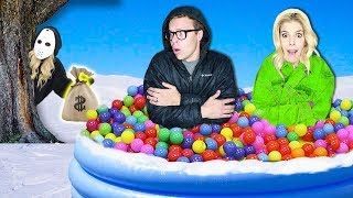 Download LAST TO LEAVE Giant Ball Pit in Snow Wins $10,000! (Game Master Hidden Clues & Rebecca Zamolo Twin) Video