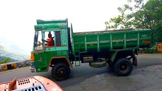 Download Ashok Leyland Tipper Lorry And TATA Lorry Turning 7/20 Hairpin Bend Yercaud Hills Road Salem Video