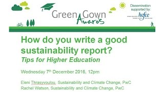 Download How do you write a good Sustainability Report Tips for Higher Education Green Gown Award webinar Video