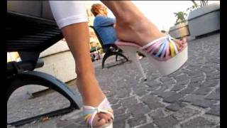Download Teen Walking in a Public Place - White Ellie Mules 6 '' Platform Heels Video