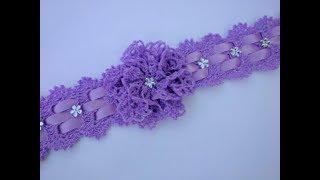 Download diadema o vincha lila tejida a crochet Video