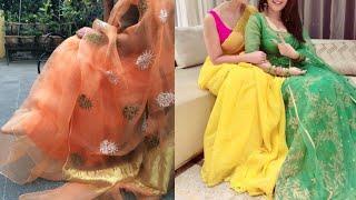 Download Light weight organza silk fabric saree blouse design ideas/beautiful organza tissue saree pattern Video
