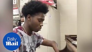 Download Teen Born With Four Fingers Plays Original Song on Piano Video