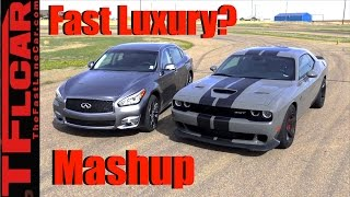 Download 2017 Dodge Challenger Hellcat vs Infiniti Q70L: 0-60 MPH Mashup Review Video
