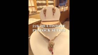 Download 22k Multistone Peacock Pendant set Video