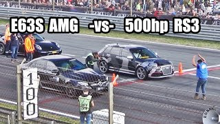 Download 500hp Audi RS3 -vs- Mercedes E63s AMG -vs- 911 Turbo S and more! Video