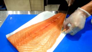 Download Cortar salmon para sushi nigiri - Japan cut nigiri sushi Video
