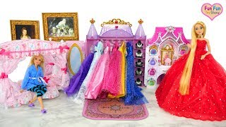 Download Princess Barbie Rapunzel Bedroom Morning Dress up Putri boneka Barbie Kamar Tidur Princesa Quarto Video