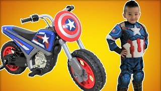 Download Captain America Electric Ride On Motorcycle 6V Unboxing Superhero In Real Life Ckn Toys Video