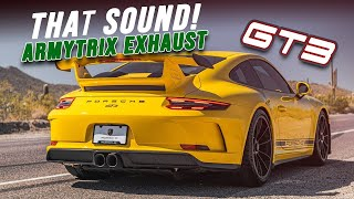Download Racing Yellow Porsche 991 GT3 w/ ARMYTRIX Valvetronic Exhaust by Vivid Racing, Revs & Fly-by sound! Video