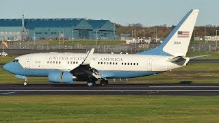 Download USAF Boeing C40B Landing & Takeoff at Prestwick Airport Video