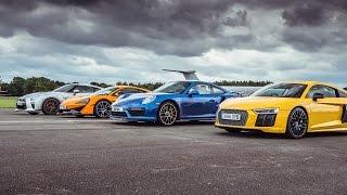Download McLaren 570S vs Porsche 911 Turbo S vs Audi R8 vs Nissan GT-R - Top Gear: Drag Races Video