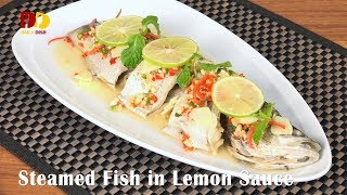Download Steamed Fish in Lemon Sauce | Thai Food | Plakapong Nung Manao | ปลากะพงนึ่งมะนาว Video