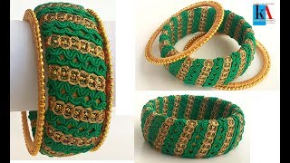 Download How to make designer silk thread kada bangles using lace - tutorial ! Video