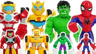 Download Marvel Avengers Hulk, Spider-Man, Transformers Rescue Bots Bumblebee! Defeat dinosaur! #DuDuPopTOY Video