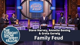Download Tonight Show Family Feud with Steve Harvey, Annette Bening and Greta Gerwig Video