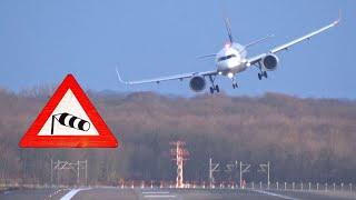 Download Sturm Burglind am Flughafen Düsseldorf - Seitenwindlandungen, viel Regen und ein Durchstarter Video