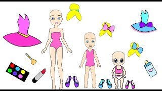 Download The homemade ballet book- Barbie Paper Doll and her kids dress up like princesses Video