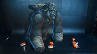 Download Epic Planet of The Apes Gorilla Warrior! - 3D Chalk Art - AWEMe Artists Video